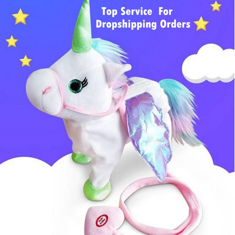 Hot Electric Soft Stuffed Animal Doll Electronic Music Unicornio Party Walking Unicorn Plush Toy For Children Christmas Gifts Electronic Toys Electronic Pets
