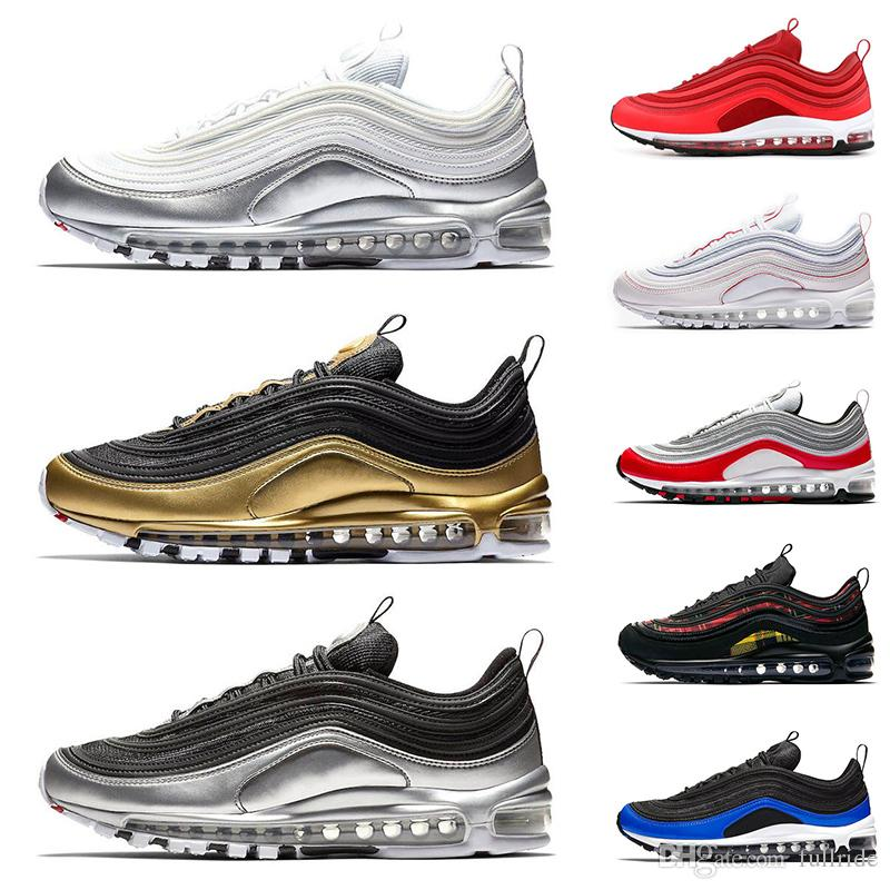 2019 New 97 97s QS Metallic Pack Running Shoes for Mens Women Sneakers  Designer Men Trainers Silver Gold Black White Gym Red Sports Running Shoes  97s 97 ... 2bacb3b29
