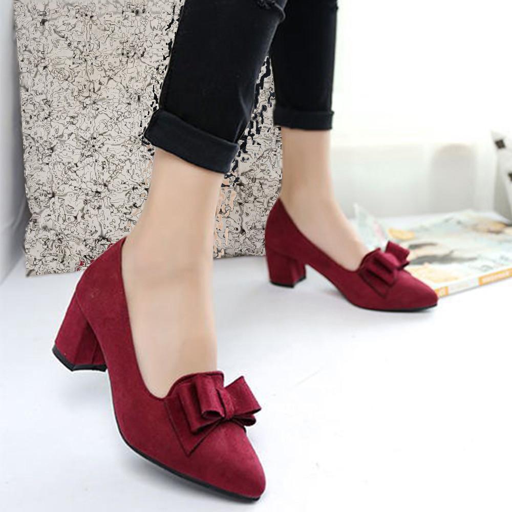 Estrecha Mujer Punta Verano Alto Zapatos Bowknot Suede Tacón Zapatillas Gruesos Vestido De Casual 2019 Moda qGMUzpSV