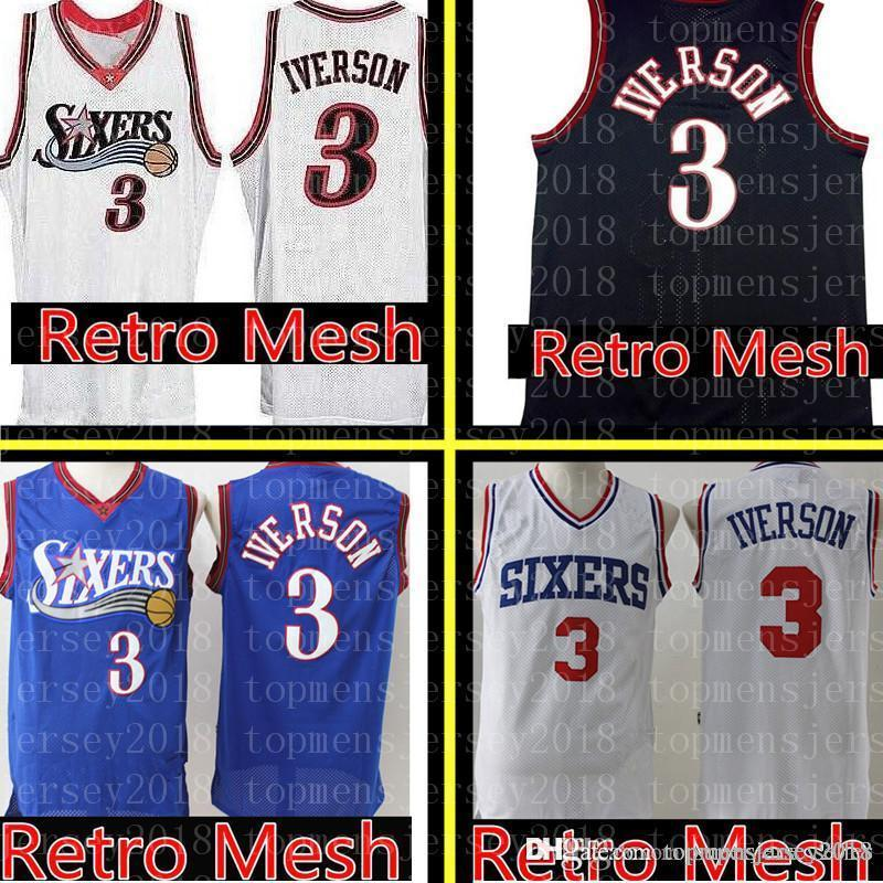 cbf3e588d3c5 2019 Retro Mesh Philadelphia Allen 3 Iverson 76ers Jersey Mens Black Blue  White Basketball Jerseys From Topmensjersey2018