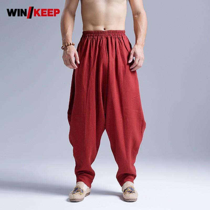 4e24555507 2019 Mens Cotton Linen Baggy Pants Kung Fu Martial Arts Sports Pants Drop  Crotch Loose Harem Folk Tai Chi Trainer Sweatpants From Shinyday, $64.97 |  DHgate.