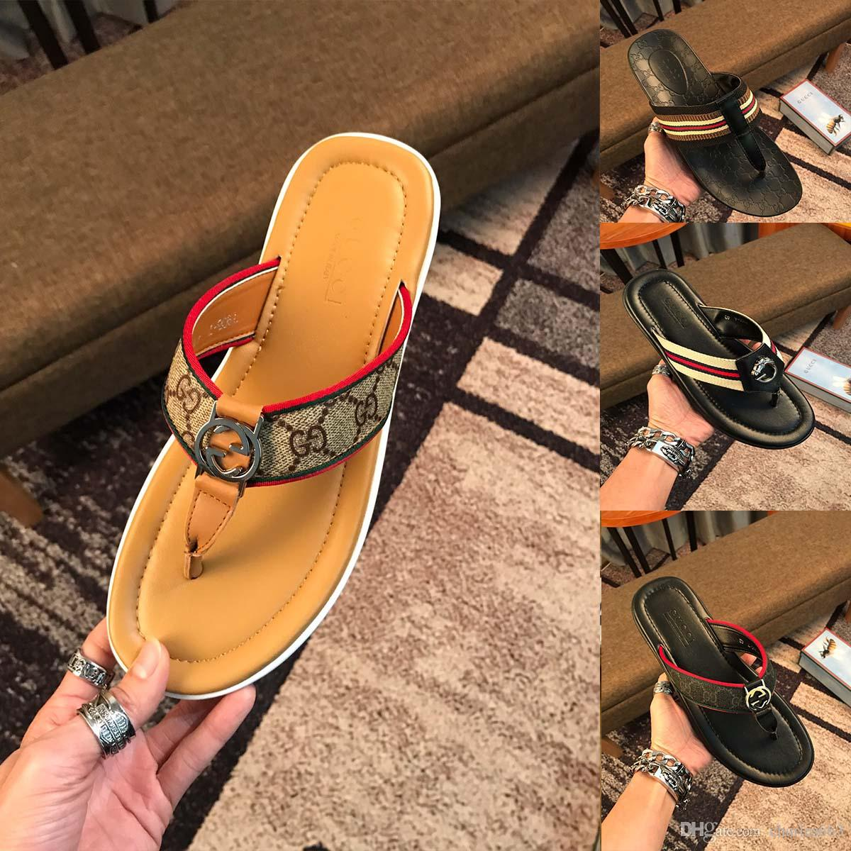 f6c2f2da51e116 2019 Brand Luxury Summer Slippers For Men Flip Flops High Quality Beach  Sandals Non Slip Men Slippers Casual Outdoor Shoes Work Boots Wide Calf  Boots From ...