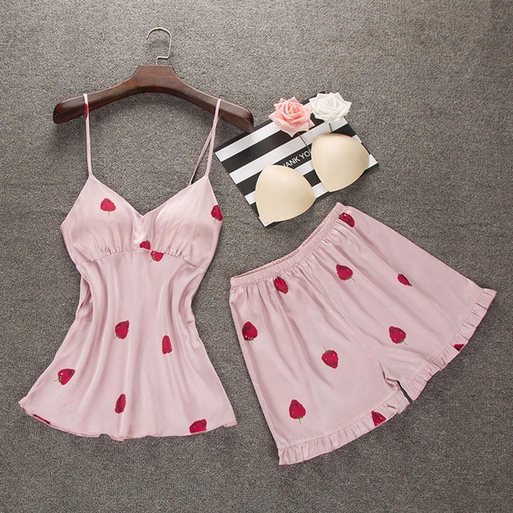 avant-garde de l'époque plus tard comment choisir Women Summer Pyjama Femme Fashion Womens Sexy Camis Sleepwear Cute Sweet  Nightwear Comfortable Underwear 2PC Set