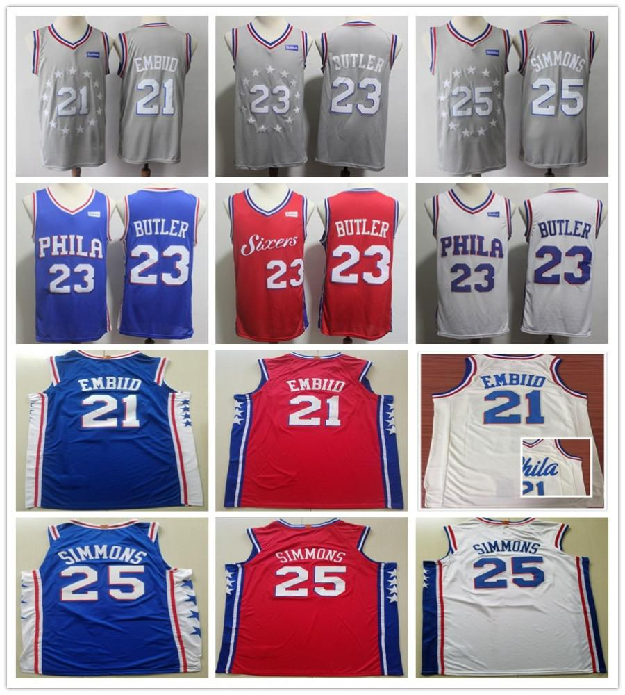 31c7a7cfd815 Stitched 21 Joel Embiid Jerseys New City Grey 25 Ben Simmons 23 ...