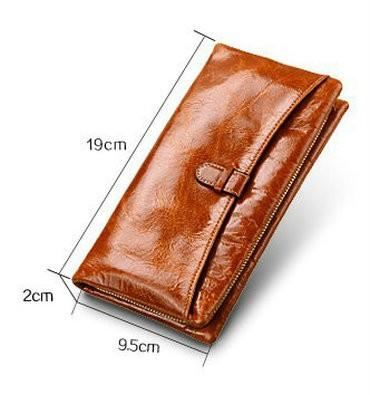 Nova Moda 100% carteira de couro genuíno das mulheres primeira camada de couro grande capacidade bolsa para mulheres zipper coin purse wristlet