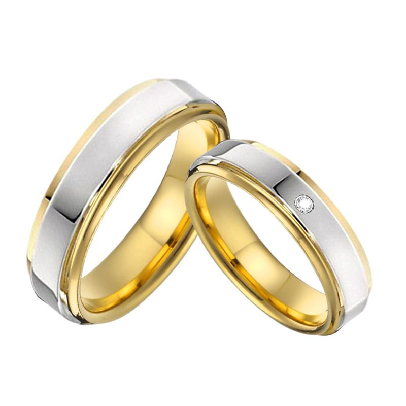 Classic Bicolor Alliances Wedding Band Couple Rings Men 4mm 5mm High Polishing Anniversary Engagement Rings For Women