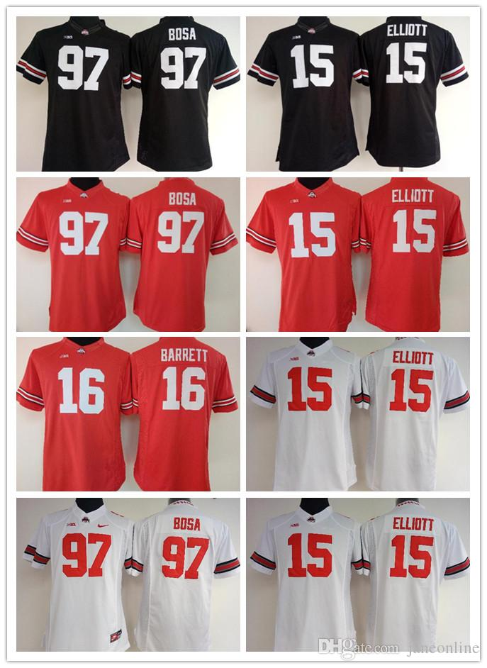 huge discount e50ad e56ab 2019 Womens Ohio State Buckeyes #97 Nick Bosa Jerseys #15 Elliott #16  Barrett NCAA College Football Jerseys White Black Red