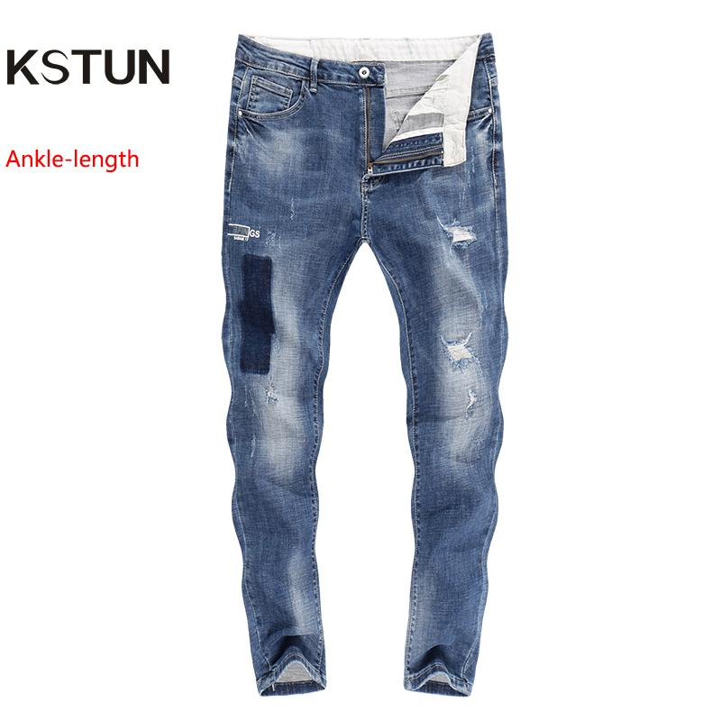 2019 Ripped Jeans For Men Skinny Cropped Pants Patchwork Tapered