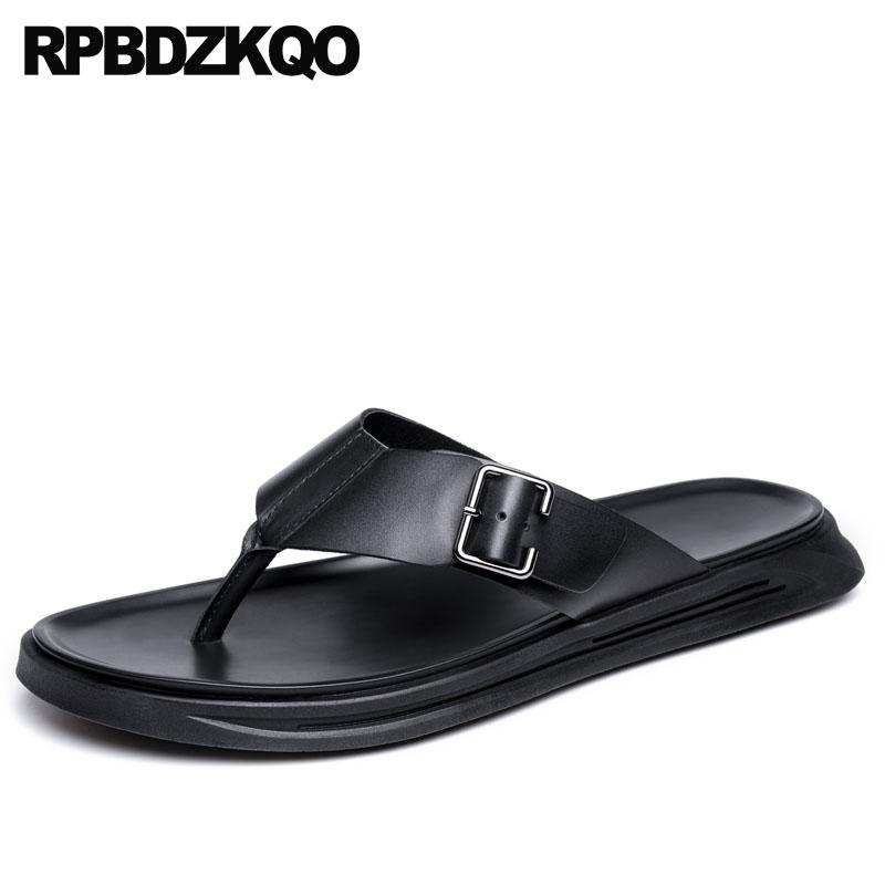 d6a973be3c350 Mens Sandals 2018 Summer Outdoor Black Slides Leather Shoes Slippers Flat  Fashion Flip Flop Men Waterproof Designer Water Nude Wedges Bridal Shoes  From ...