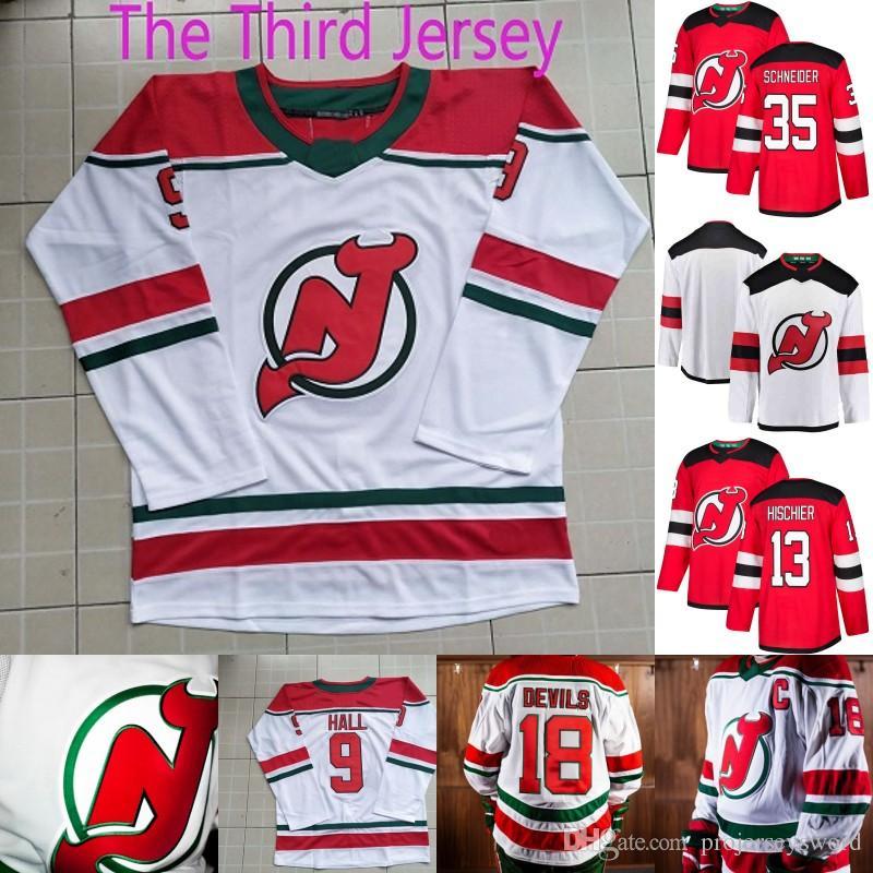 2019 New Jersey Devils Heritage Jersey 9 Taylor Hall 13 Nico Hischier 19  Travis Zajac 35 Cory Schneider 90 Marcus Johansson Hockey Jerseys From ... 286680077