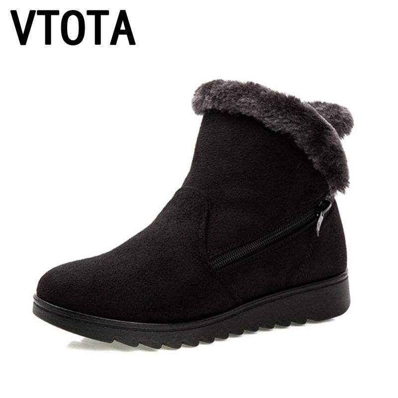 2019 VTOTA Winter Women Ankle Boots Hot Snow Boots 2018 Zip Mother Warm Shoes Fur Female Platform Winter Boots Botas Mujer Black H155