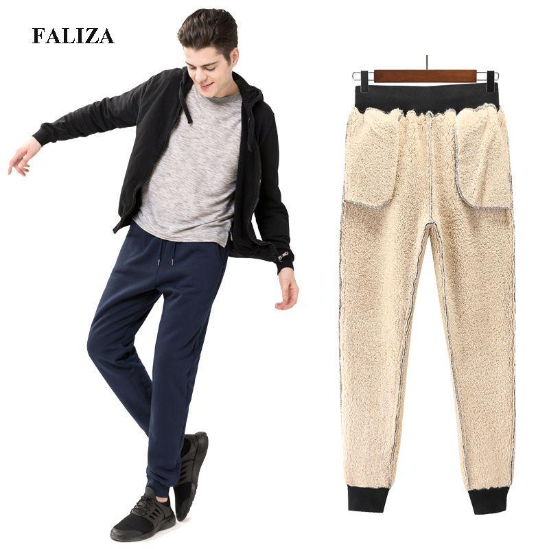 ea8299e4 2019 FALIZA Winter Thick Fleece Jogger Mens Pants Cotton Trousers Male Winter  Warm Velvet Sweatpants Men Joggers Casual Pants118 From Piterr, ...