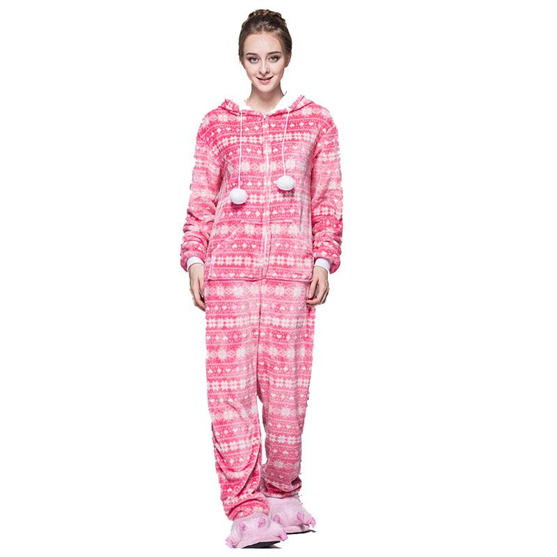 59cc16d72870a6 Moda Red Pink Bird Zipper Mulheres Pijama De Neve Pijama Com Capuz Onesie  Para Adolescentes Adultos Melhor Pijamas Natal Pijamas