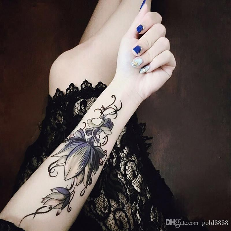 100pcs Flower Arm Temporary Waterproof Tattoo Stickers Cat Pattern 12x19cm for Women Men Body Art 2019 NEW