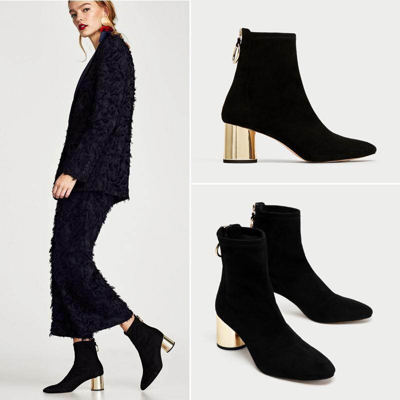 316984ae41dc Boussac Metal Heel Ankle Boots For Women Stretch Suede High Heel Sock Boots  Women Sexy Pointed Toe Shoes SWE0552 Wedges Shoes Designer Shoes From  Dhenana