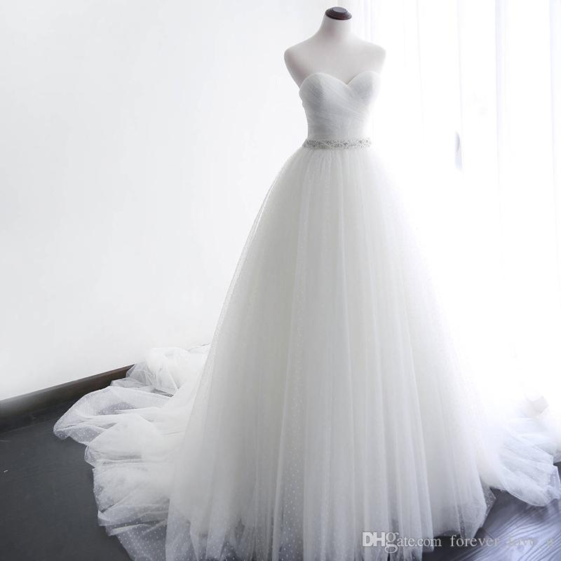 bd820b2dbd4 Discount Princess A Line Wedding Dresses Sweetheart Sleeveless Ruched Pleated  Tulle Classic Bridal Gowns With Exquiste Beaded Belt Court Train Buy  Wedding ...