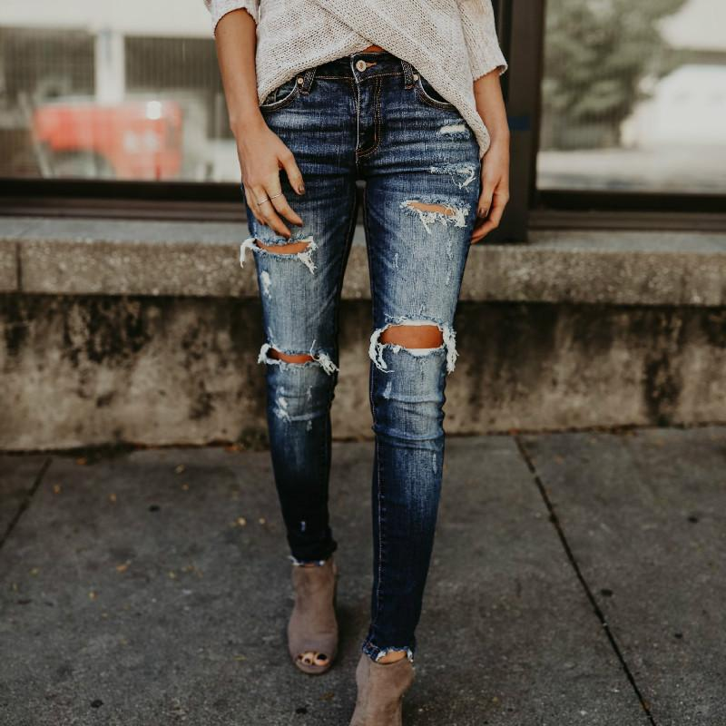 15e323c97004a 2018 Spring Fashion Bleached Ripped Jeans Women Cotton Denim Slim ...