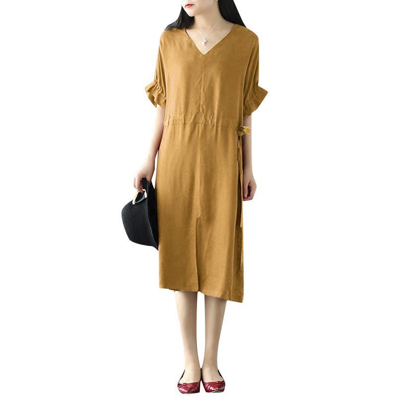 8db4e31793fe Compre Mulheres Casual Solto Vestido Mangas Meia V Cordão No Pescoço Cintura  5XL Plus Size Vestido Elegante Fenda Da Frente Sólida Do Vintage Vestido  Midi ...