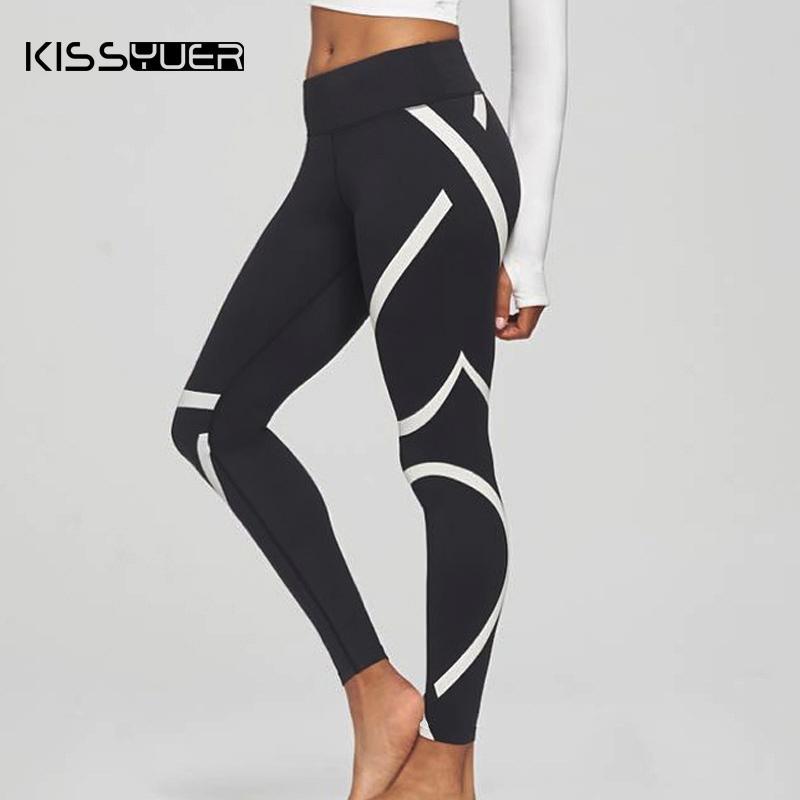 903381b7b94f98 2019 Print Striped High Waist Leggings Women 2019 Push Up Slim Black  Fitness Seamless Leggings Pants Cotton Sports Workout From Ladylbdcloth, ...
