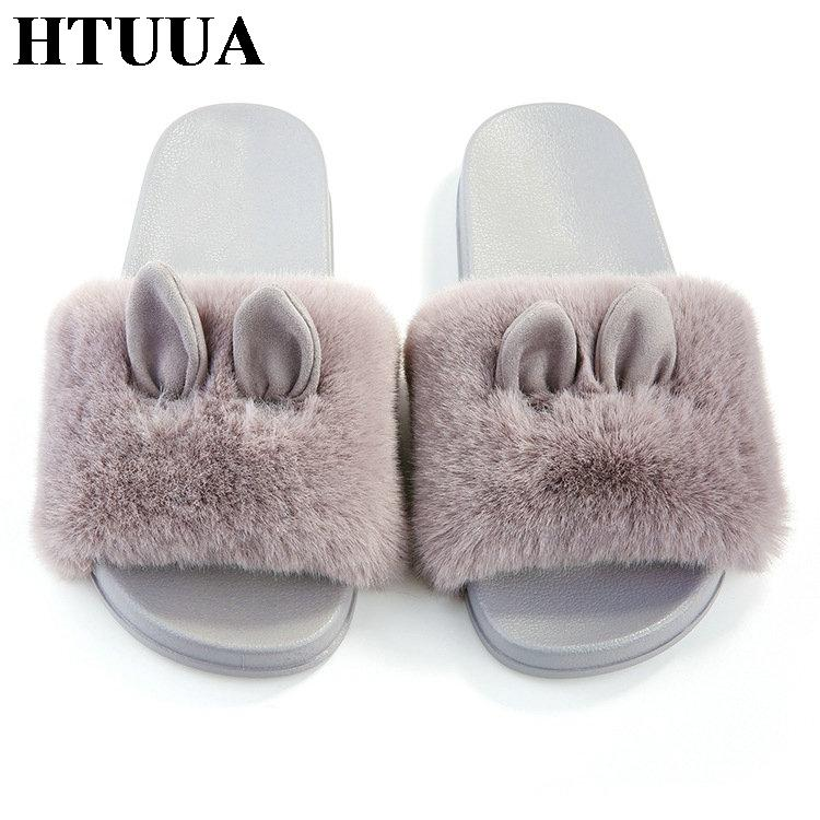 9aaa29b5927b HTUUA 2019 Rabbit Ears Fur Slippers Women Fluffy Furry Slides Ladies Flat  Shoes Platform Beach Flip Flops Outside Home SX1987 Green Shoes Ankle Boots  For ...