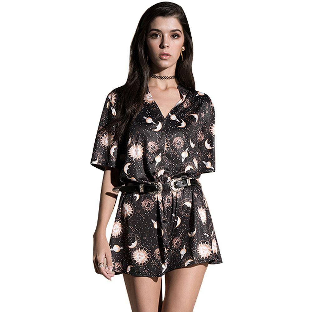 53a24ae2341e Vintage Women Mini Loose Dress Short Sleeves V Neck Moon Planet Print  Casual Straight T Shirt Dresses Black Dress Female Ropa Little Black Dress  Prom Dress ...