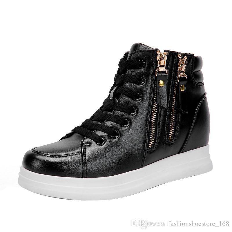 0200a786c00 Wedges Shoes for Women S Vulcanize Shoes Platforms Hightop Side Zipper Ladies  Sneakers Shoes Women 2019 Tenis Femenino Casual Wedge Sneakers Wedges  Sneakers ...