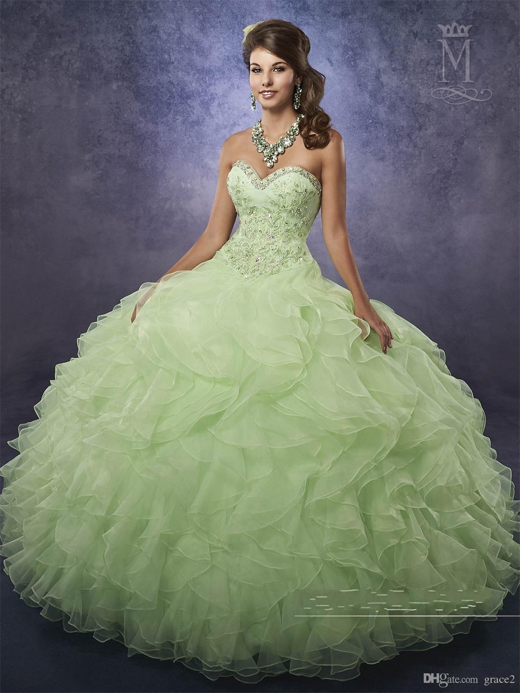 a516353971 Compre Vestido De Bola Verde Manzana Vestidos De Quinceañera 2019 Princesa  De María Con Bolero Y Volantes En Cascada Falda De Organza Hermoso Vestido  15 ...