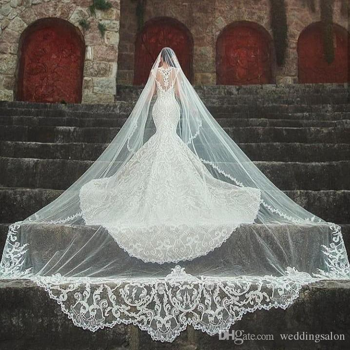 Amazing 3M Long Wedding Veils Cathedral Length One Layer