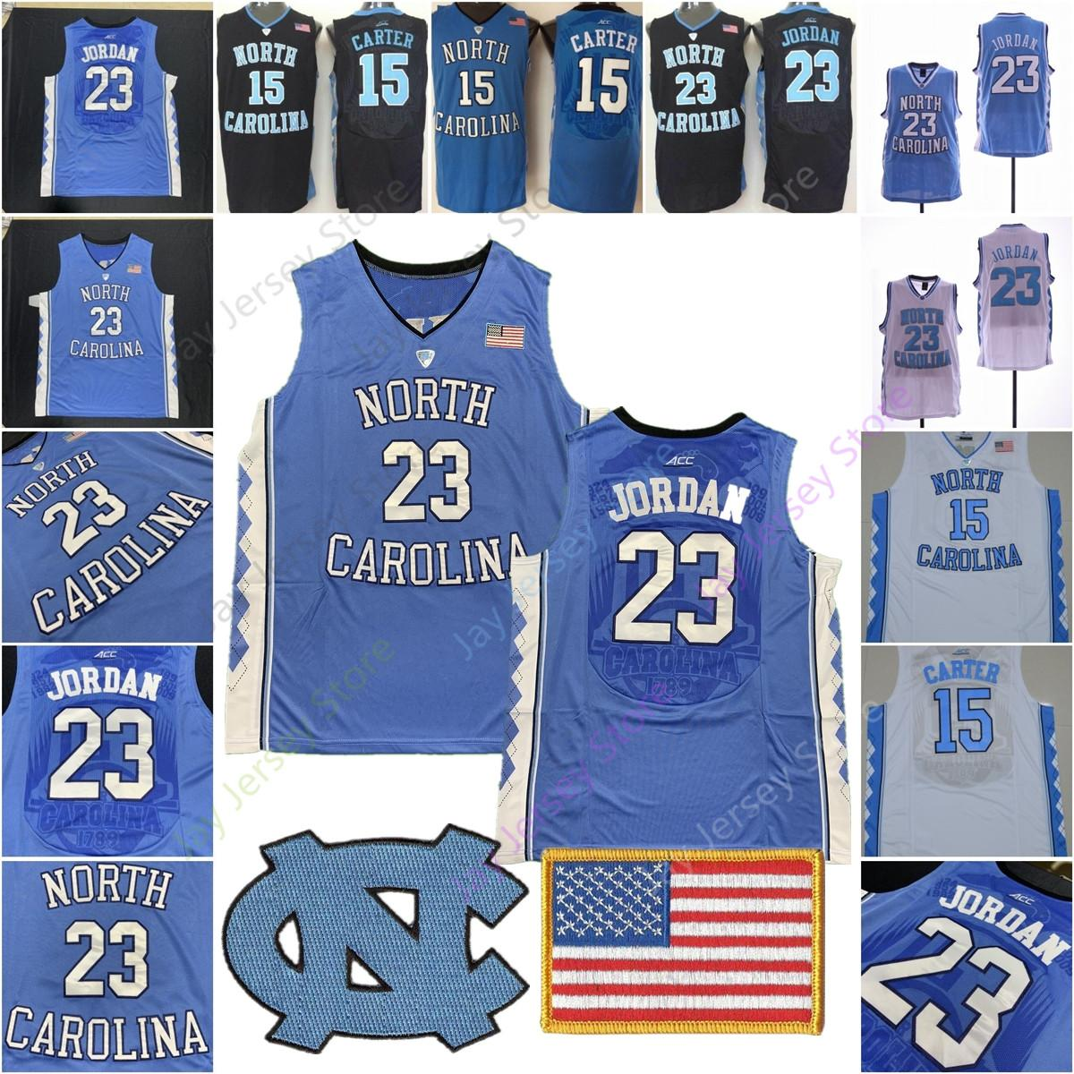 low priced 22b7e e1ff1 NCAA North Carolina Basketball Jersey College Michael Vince Carter Jerseys  Home Away Blue Black White Men Size S-3XL