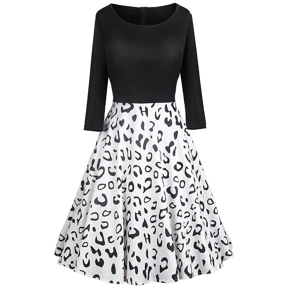 f5da332eb75 Leopard Print Vintage Dress Women Winter Casual Plus Size Swing Dress Robe  Femme Long Sleeve Elegant Black Party Dresses Vestido Formal Prom Dresses  Pretty ...