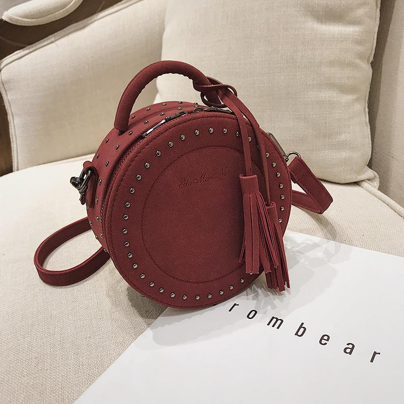f0e1b14438d Circular Fashion Women Shoulder Bag Leather Women s Crossbody Messenger  Bags Ladies Purse Female Round Handbag