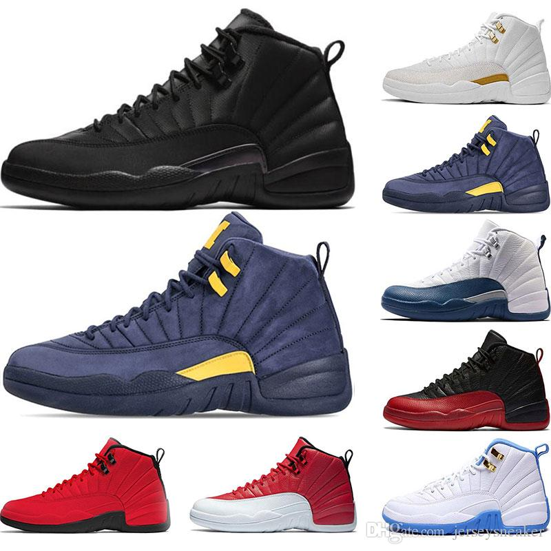cheaper abac9 b98b1 New 12s Mens Basketball Shoes Winterized WNTR gym red white TAXI Flu Game  gym red French blue trainers sports sneaker shoes size 7-13