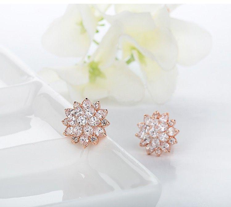 Luoteemi rose rosa gold-farbe luxus ausgezeichneter schnitt klar zirkonia blume ohrstecker frauen valentinstag geschenk schmuck