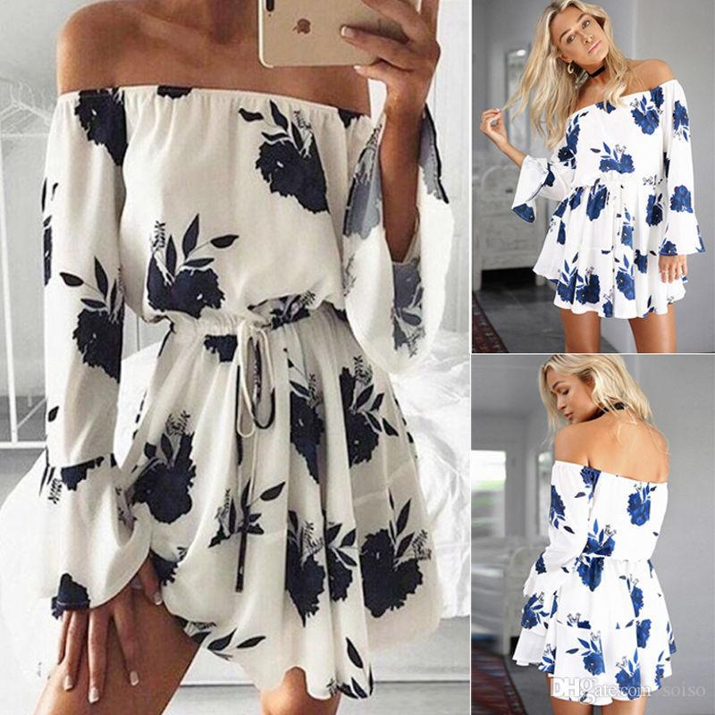 Summer Fashion Dress One-shoulder sexy backless print Dresses Print Dress Hot Instagram Style Women Dress With Flower Print Beach Dresses