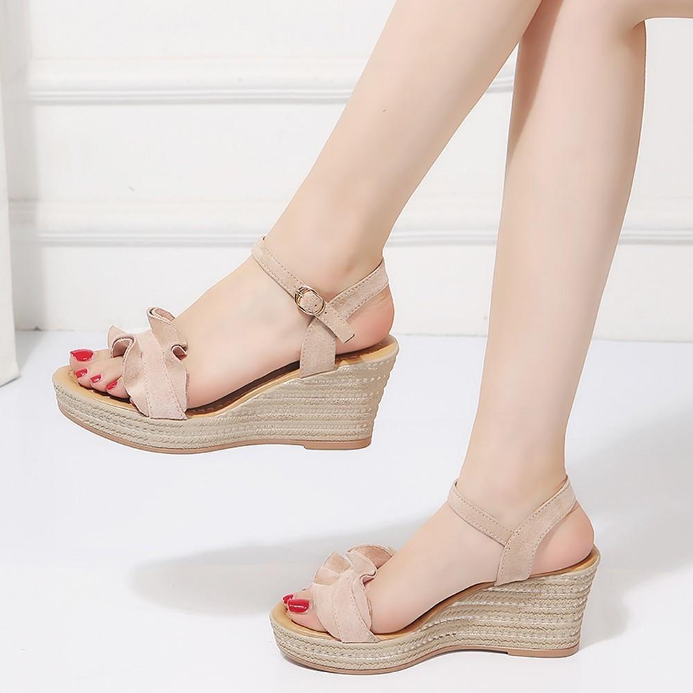 9bc50cfdf1af Fashion Women Wedge Heels Ruffle Peep Toe Buckle Strap Sexy Sandals Pumps  Shoes High Heel Platform Open Toes Women Sandals  g8 Sperry Shoes Silver  Heels ...