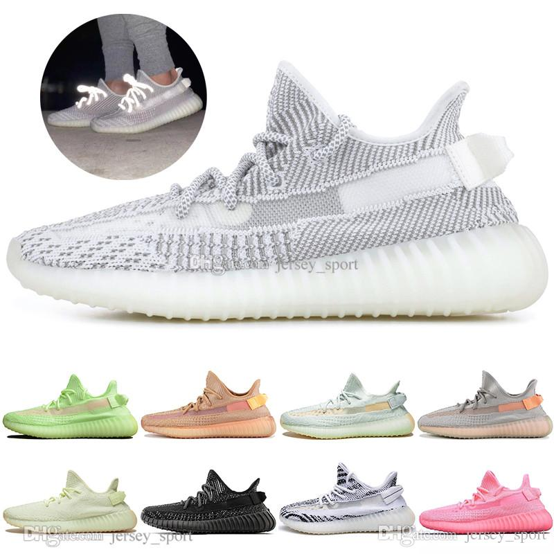 Luxury Kanye West Clay V2 Static Reflective GID Glow In The Dark Mens Running Shoes Hyperspace True Form Women Men Sports Designer Sneakers