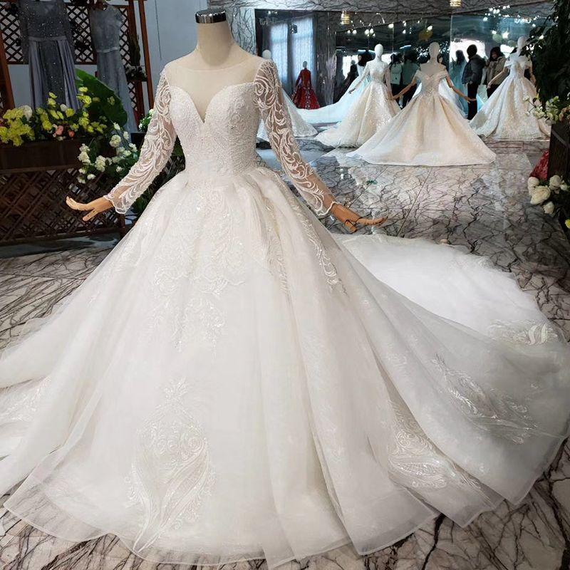 5b185defd6 2019 Newest Design Luxury Wedding Dress Long Tulle Detail Applique Sleeve  Illusion O Neck Open Keyhole Back Classic Wedding Gown Croatia Wedding  Dresses ...