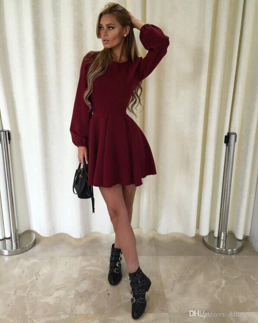 Fall Fashion 2019 Women Long Sleeve Bodycon O Neck Casual Dress Winter  Vintage Sexy Mini Party Dresses Autumn Clothes Vestidos Womens Long Black  Dresses ... 753d86bb8a3a