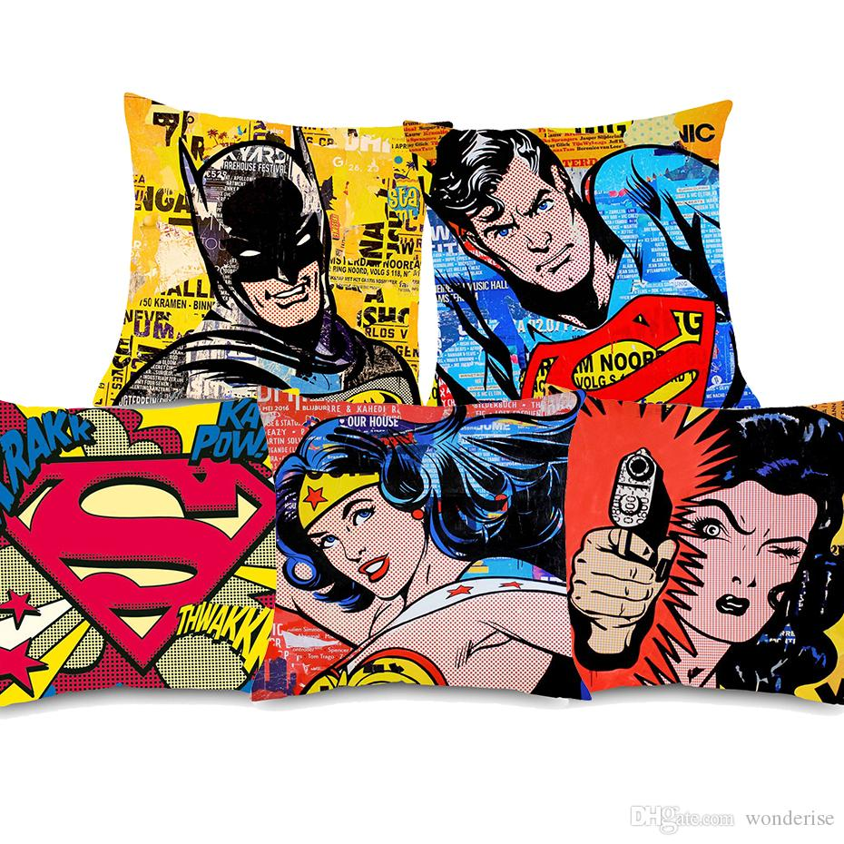 6 Styles American Vintage POP Art SUPER HERO Cushion Covers Superman Wonder Woman Cushion Cover Bedroom Sofa Throw Linen Pillow Case