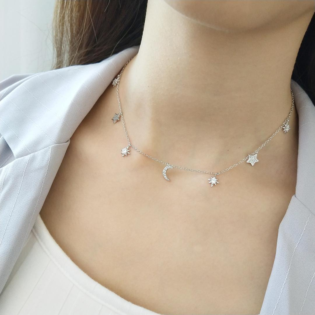 South Korea Edition Silver Design 925 Sterling Silver Necklace Dazzling Star Moon Myth Necklace Jewelry