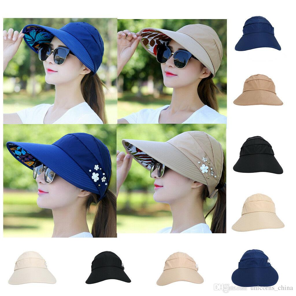 96637e17a3fee Sun Visor Ponytail Hat Women Wide Brim Floral Protection Cap Foldable  Sunhat Summer Floppy Beach Packable Outdoor Hats CNY1252 Hat Embroidery Cap  Rack From ...