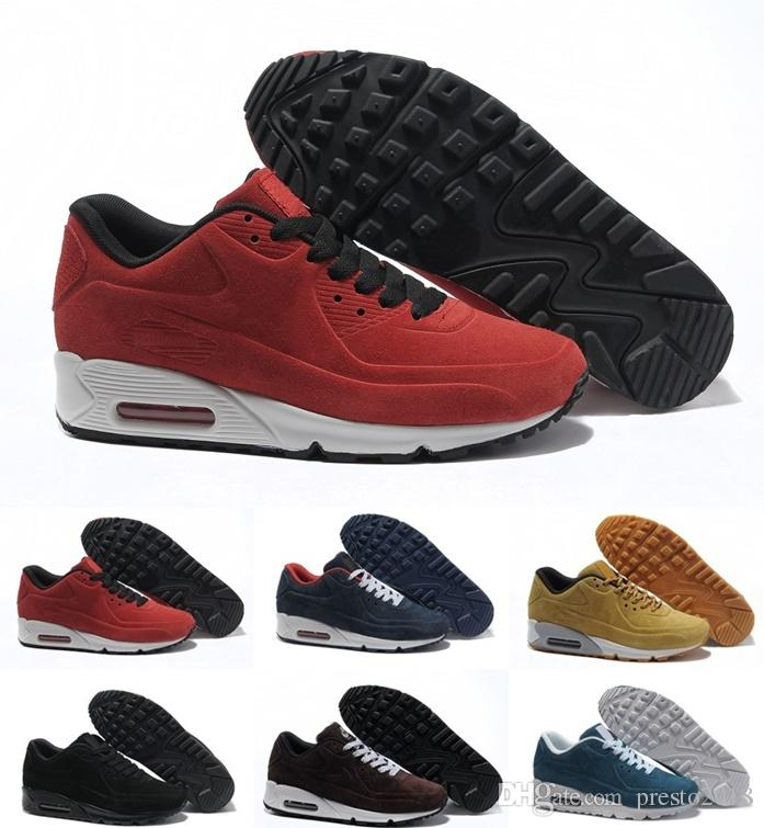 new concept 95109 3d742 hot sale 2019 new Suede Leather AM 90 VT Winter Sneakers Shoes Man Sneaker  Boots Walking Shoes Zapatillas 6 Colors Size 36-45