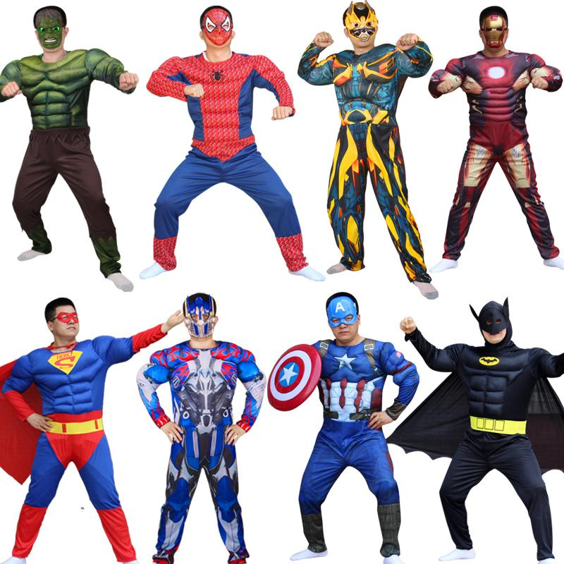 Superhero Captain America Hulk With Mask Holiday Party Cosplay Costumes Adults Men Women Batman Halloween Dress Up Q190428