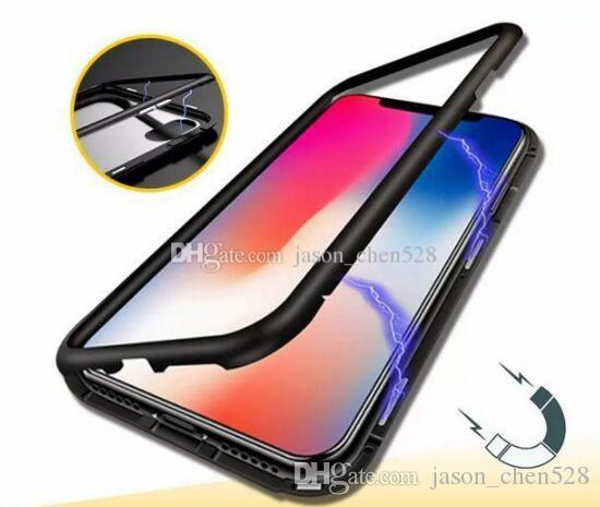 70eb6dbac85 360 Magnetic magnet Adsorption metal Hard Case for iPhone X 8 Plus +Glass  Back Cover for iPhone Xs Max Xr Magnetic Metal Phone Case