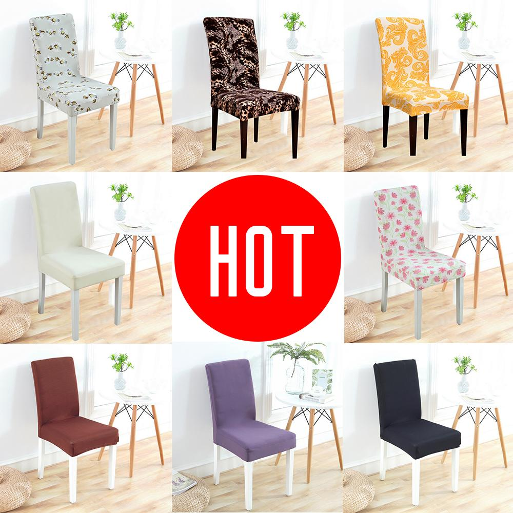Urijk Chair Cover Spandex Elastic Printing Dining Solid Color Stretch Elastic Slipcovers Chair Covers For Kitchen Wedding Hotel