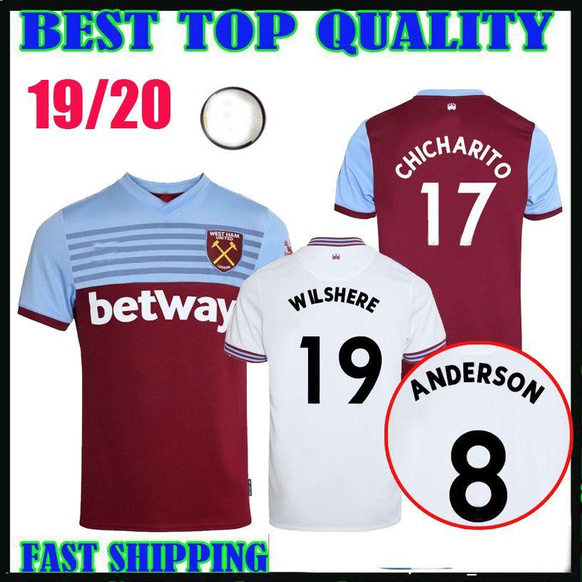 ba5257b2eb8 2019 19 20 West Ham Soccer Jerseys United 2019 2020 Home Away Diop #8  Anderson WILSHERE #17 Chicharito #10 LANZINI #7 ARNAUTOVIC Football Shirts  From ...