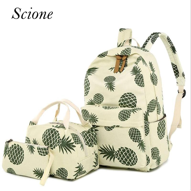 b0dfe23a5 Simple Style Canvas Backpack Set Fruit Pineapple Printing Women Backpack  Big School Bag With Lunch Box Girl Daily Laptop Bag Girl Backpacks Toddler  Backpack ...