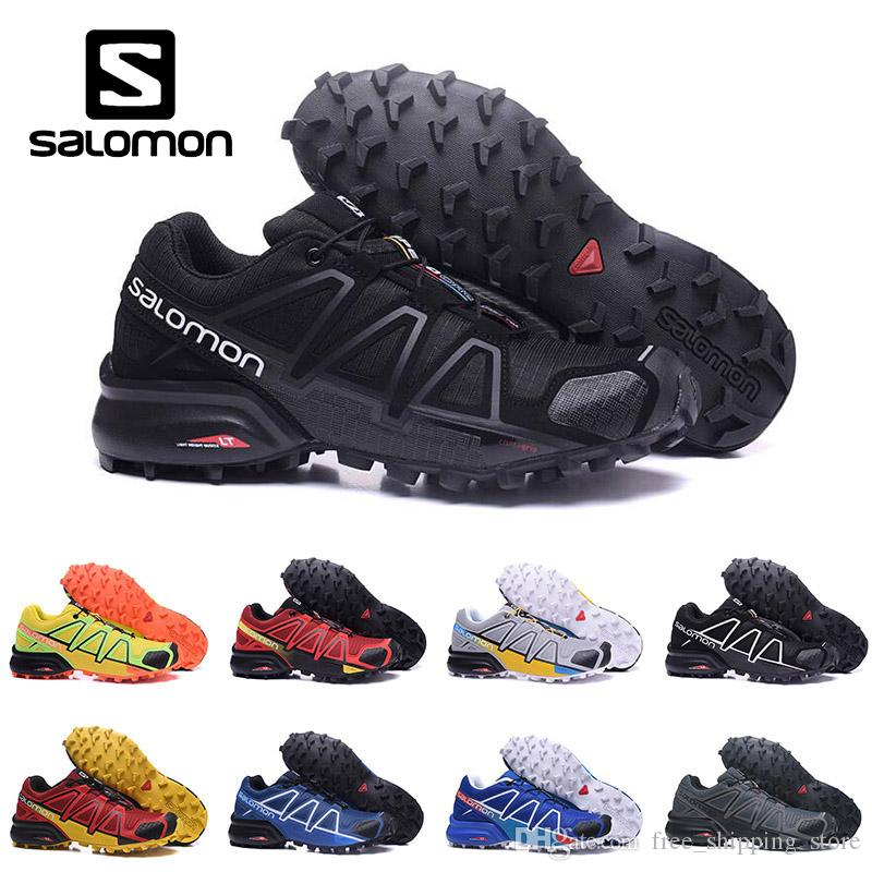 3bdd2e5334d4 Salomon Speed Cross 4 IV CS Trail Running Shoes For Men Women Black White  Blue Outdoor Hiking Athletic Sports Sneakers Size 40 46 Womens Running  Trainers ...