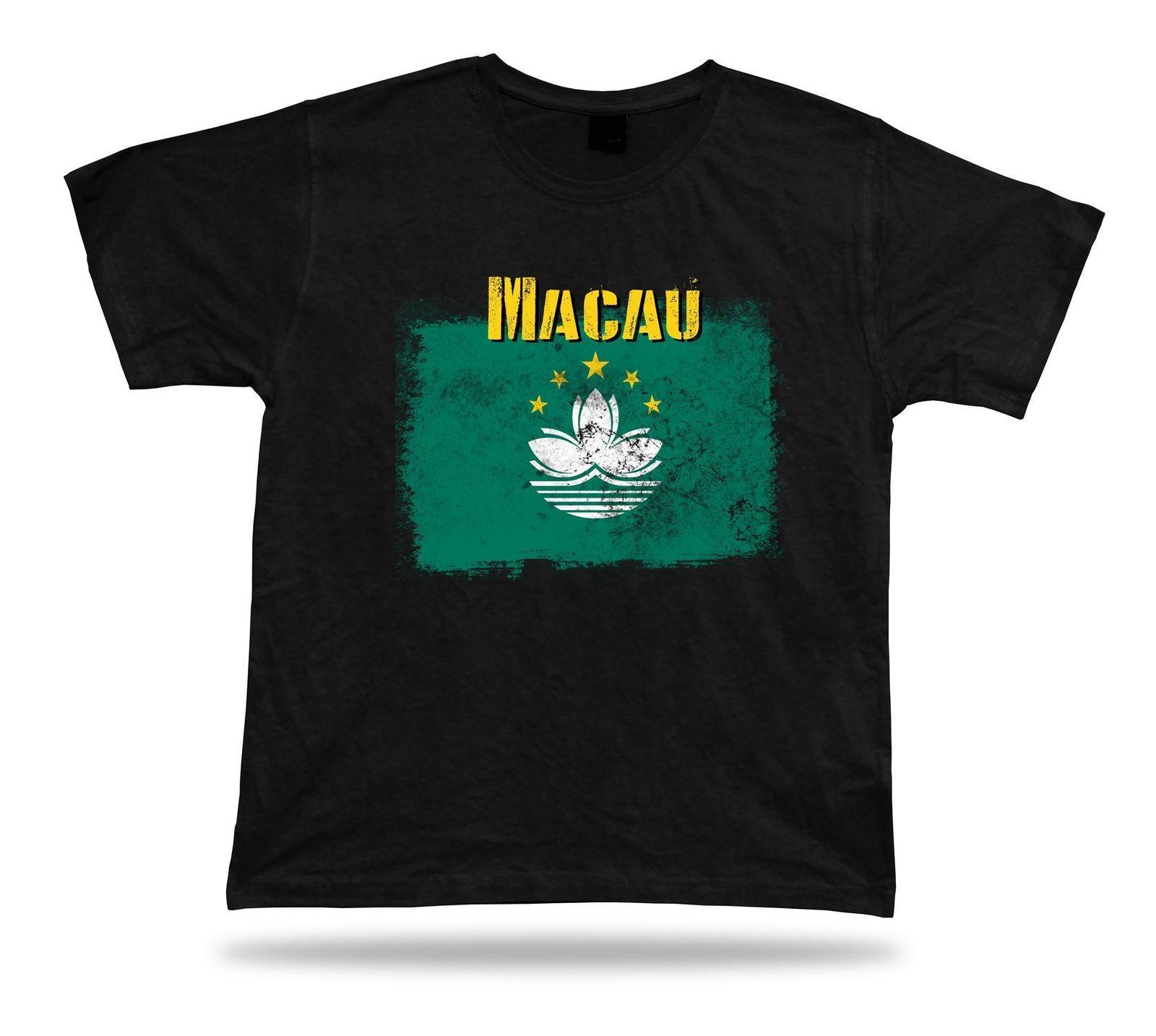 Macau Flag Tshirt T Shirt Tee Top City Map Lotus Flower Stunning