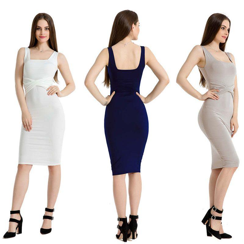 1b3f719b6029 Color sólido Negro Blanco Paso Vestido Cintura Cruz Sin mangas Hip Wrap  Vestido Trabajo Lápiz Vestidos Faldas Diseñador Moda Mujer Ropa 220108